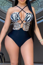 Black Sexy Animal Print Hollowed Out Split Joint Swimwears