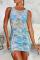 Blue Sexy Print Mesh O Neck Pencil Skirt Dresses