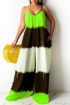 Green Fashion Casual Print Backless Spaghetti Strap Regular Jumpsuits