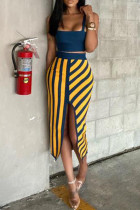 Yellow Sexy Casual Print Backless Slit Spaghetti Strap Sleeveless Two Pieces