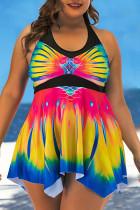 Yellow Sexy Print Split Joint Halter A Line Plus Size Swimwear