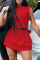 Red Fashion Casual Solid Basic O Neck Sleeveless Two Pieces