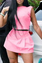 Pink Fashion Casual Solid Basic O Neck Sleeveless Two Pieces