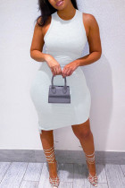 White Casual Solid Asymmetrical O Neck Vest Dress