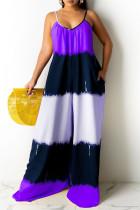 Purple Fashion Casual Print Backless Spaghetti Strap Regular Jumpsuits
