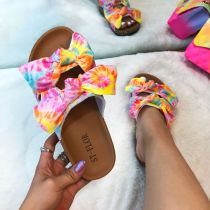 Pink Fashion Casual Hollowed Out With Bow Comfortable Slippers