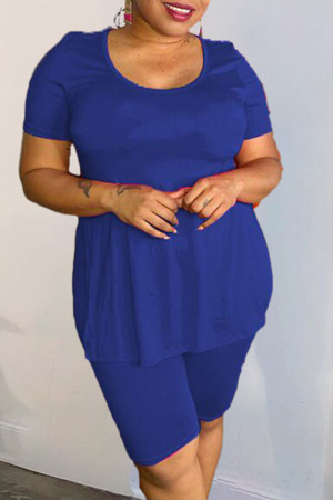 Peacock Blue Casual Solid Split Joint High Opening O Neck Plus Size Two Pieces