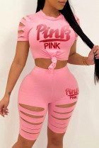 Pink Fashion Casual Letter Print Ripped O Neck Short Sleeve Two Pieces