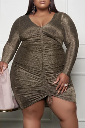 Gold Fashion Casual Plus Size Solid Draw String V Neck Long Sleeve Dresses