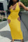 Yellow Sexy Casual Solid Hollowed Out U Neck Vest Dress