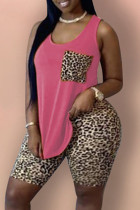 Rose Red Fashion Casual Leopard Printing U Neck Plus Size Two Pieces
