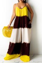 Yellow Fashion Casual Print Backless Spaghetti Strap Regular Jumpsuits