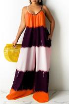 Orange Fashion Casual Print Backless Spaghetti Strap Regular Jumpsuits