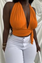 Orange Sexy Solid Backless Strap Design Halter Tops