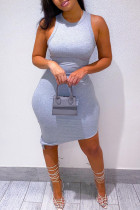 Grey Casual Solid Asymmetrical O Neck Vest Dress