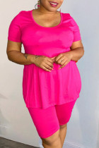 Rose Red Casual Solid Split Joint High Opening O Neck Plus Size Two Pieces