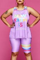 Purple Fashion Casual Letter Print Vests O Neck Plus Size Two Pieces