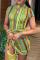 Light Green Sexy Striped Split Joint Half A Turtleneck Irregular Dress Dresses