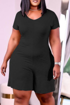 Black Fashion Casual Solid Basic V Neck Plus Size Romper