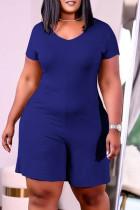 Blue Fashion Casual Solid Basic V Neck Plus Size Romper