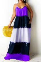 Purple Sexy Casual Print Backless Spaghetti Strap Sleeveless Dress