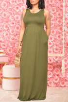 Army Green Casual Solid Pocket O Neck Vest Dress