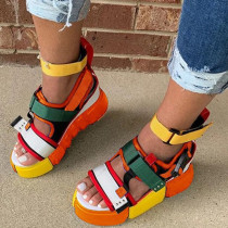 Orange Fashion Casual Hollowed Out Split Joint Round Out Door Sandals