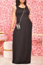 Black Casual Solid Pocket O Neck Vest Dress