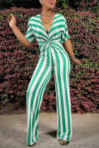Green Fashion Casual Striped Print Basic V Neck Regular Jumpsuits