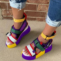 Purple Fashion Casual Hollowed Out Split Joint Round Out Door Sandals