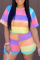 Colour Casual Striped Split Joint O Neck Short Sleeve Two Pieces
