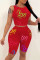 Red Casual Sportswear Letter Print Vests O Neck Sleeveless Two Pieces
