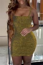 Gold Fashion Sexy Solid Backless Spaghetti Strap Sleeveless Dress