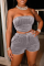 Grey Sexy Solid Split Joint Strapless Sleeveless Two Pieces