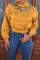 Yellow Casual Patchwork Knitting Hoodies