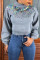 Grey Casual Patchwork Knitting Hoodies