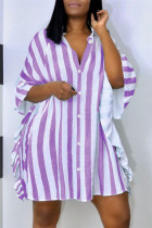 Purple Fashion Casual Striped Print Split Joint Turndown Collar Shirt Dress Dresses