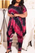 Peach Fashion Casual Tie Dye Printing V Neck Plus Size Two Pieces