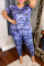 Camouflage Casual Print Split Joint V Neck Plus Size Two Pieces