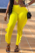 Yellow Casual Solid Flounce Skinny Mid Waist Pencil Solid Color Bottoms