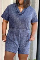 Blue Casual Solid Split Joint O Neck Regular Jumpsuits