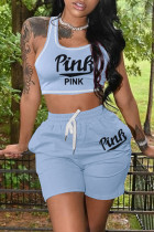 Light Blue Casual Sportswear Letter Print Vests U Neck Sleeveless Two Pieces