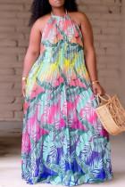 Colour Fashion Sexy Plus Size Print Backless Fold O Neck Sleeveless Dress