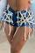 Dark Blue Casual Patchwork Draw String Mid Waist Skinny Denim Shorts