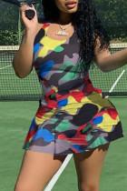 Camouflage Fashion Sportswear Print Basic U Neck Sleeveless Regular Romper