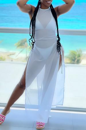 White Fashion Sexy Solid See-through Slit Swimwears Three-piece Set