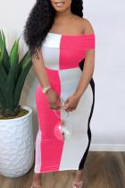 Rose Red Casual Color Lump Print Split Joint Off the Shoulder Sheath Dresses