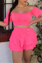 Rose Red Sexy Casual Solid Backless Off the Shoulder Short Sleeve Two Pieces