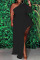 Black Fashion Casual Plus Size Solid Asymmetrical Oblique Collar Long Sleeve Dresses