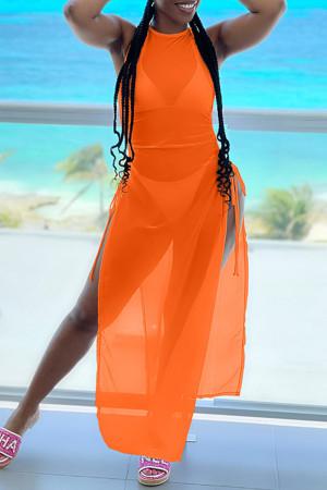 Orange Fashion Sexy Solid See-through Slit Swimwears Three-piece Set